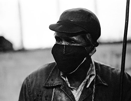 Greaser in his mask, Lee Howl pump factory Tipton  (1978)