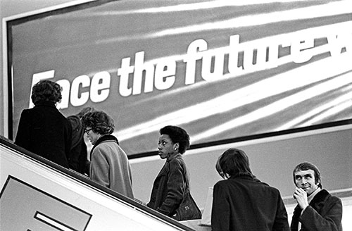 On an escalator, Bull Ring Birmingham  (1975)