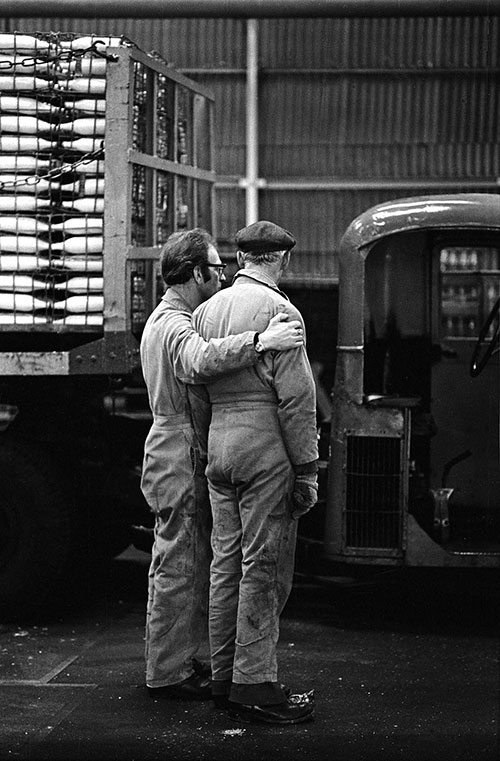 Dairy workmates in the loading bay Wolverhampton  (1977)