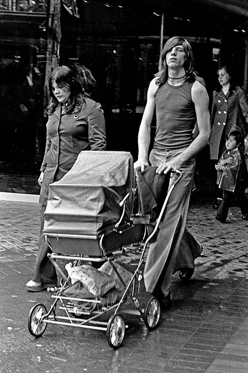 family in a shopping precinct Bromsgrove (1975)