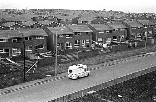 Ice cream van, council estate Northumberland  (1975)