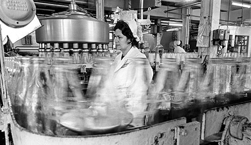 Bottle inspection, dairy Wolverhampton  (1977)