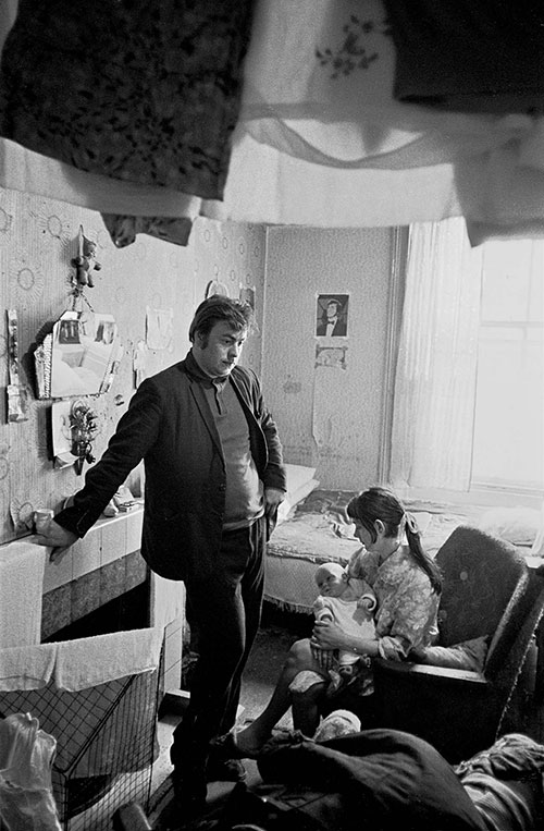 Father mother and their new born baby living in one room, Liverpool  (1969)
