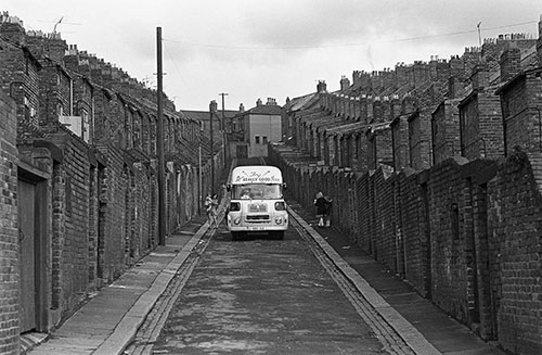 Icecream van in Byker, Tyneside  (1970)