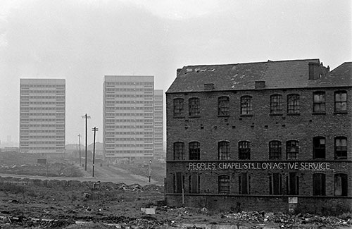 Tower blocks advance across a slum cleared site, Hockley Birmingham  (1967)