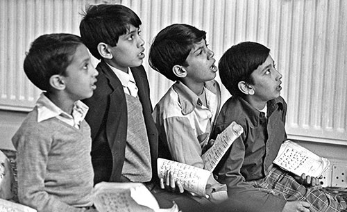 Children reciting from the Koran, Mosque Wolverhampton  (1976)
