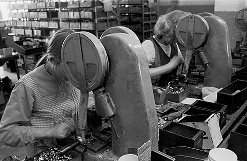 On the assembly line, Josiah Parkes lock factory Willenhall  (1976)
