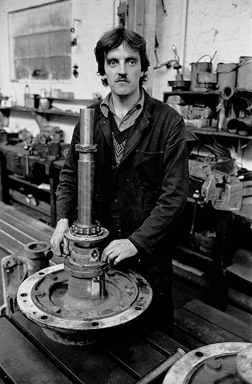 A fitter at Lee Howl's pump factory, Tipton  (1978)