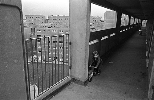 Child playing on a Killingworth walkway  (1975)