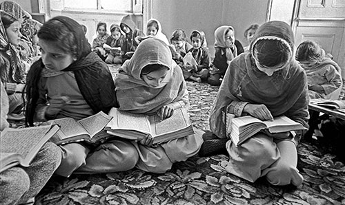 Children reading from the Koran, Mosque Wolverhampton  (1976)