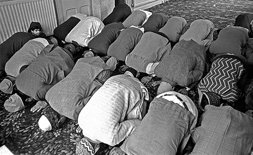 Praying at the mosque Wolverhampton  (1976)