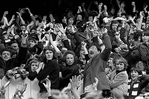 Football supporters, Highbury, N London  (1975)