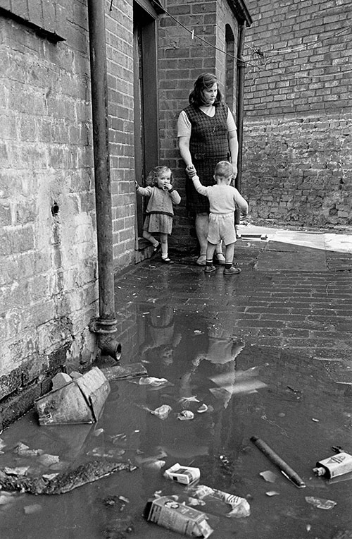 Family living with foul drainage, Winson Green, Birmingham  (1971)