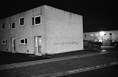 New housing at night Killingworth New Town Northumberland  (1975)
