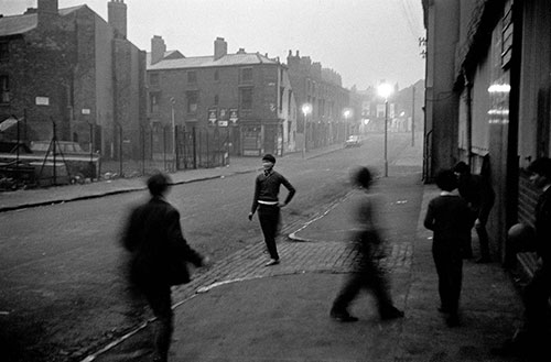 Street games at dusk, Hockley , Birmingham  (1966)