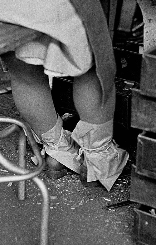 Protective ankle cuffs, assembly line Josiah Parkes lock factory Willenhall  (1976)