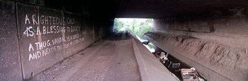 Graffiti on pedestrian underpass under the M6 Wednesbury  (1999)