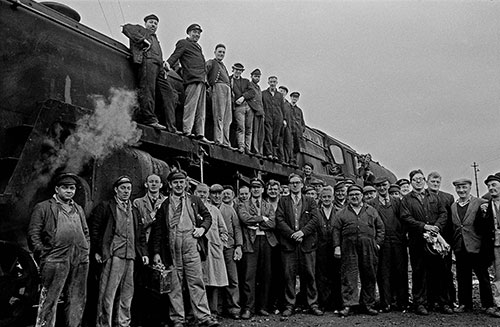 Railwaymen on the last day of steam at the Oxley engine sheds, Wolverhampton  (1967)