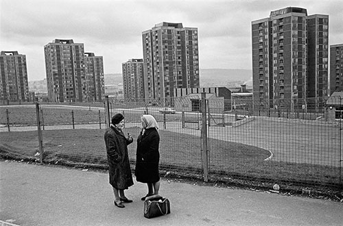 Tower blocks and a conversation, Newcastle  (1975)