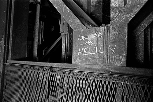 Sign by the steel furnaces, British Steel, Bilston  (1977)