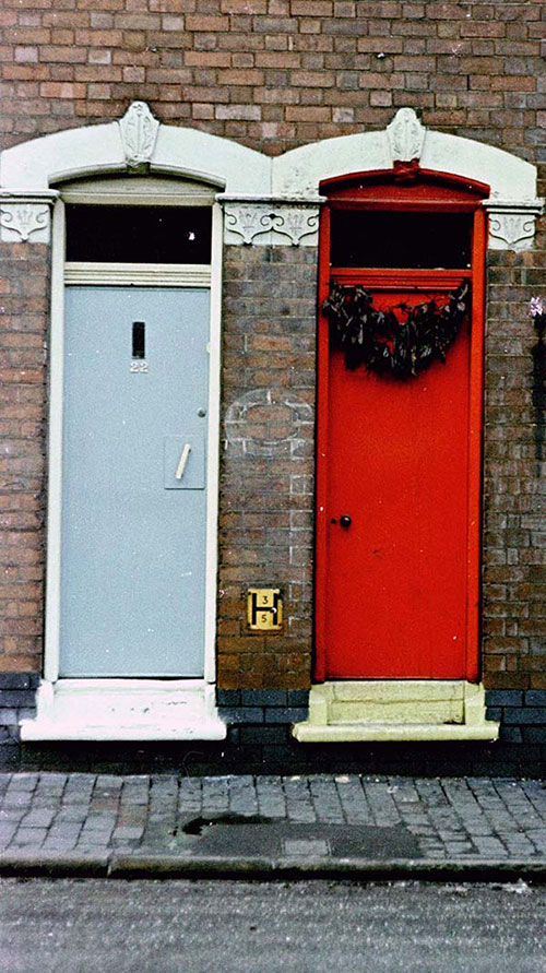 Brightly painted doorways, Asian community Saltley  (1966)