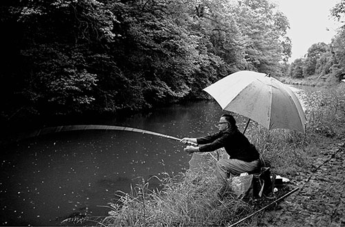 Casting at a fishing competition Worcs  (1969)