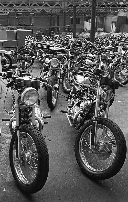 Lines of unfinished Norton motorcycles,  Wolverhampton  (1976)