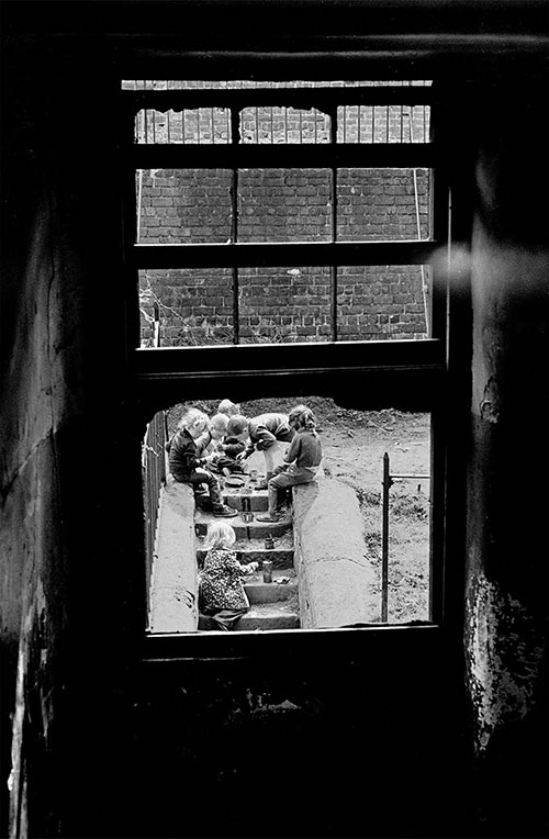 Children playing in a derelict Maryhill tenement block, Glasgow  (1971)