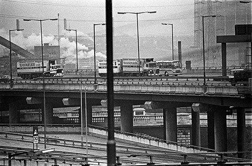 Traffic on the M6 Spaghetti Junction Birmingham  (1975)
