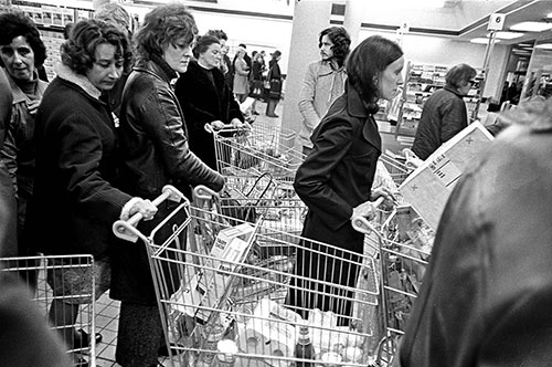 Queue in a Northfield supermarket Birmingham  (1975)