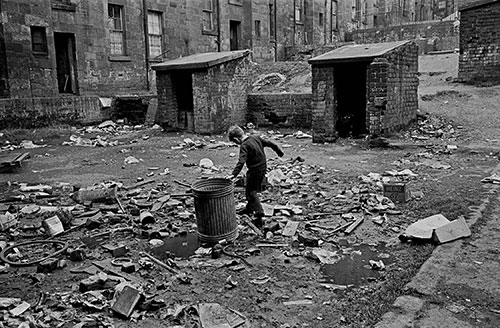 In the courtyard of a Maryhill, Glasgow, tenement block,  (1971)