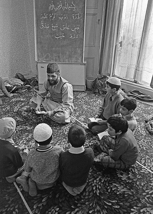 Boys learning the Koran Mosque Wolverhampton  (1976)