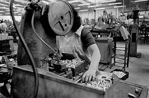 Woman on the assembly line, Josiah Parkes lock factory Willenhall  (1976)