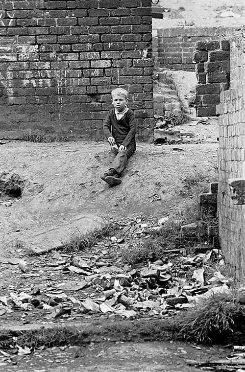 Young boy in a Glasgow tenement courtyard  (1971)