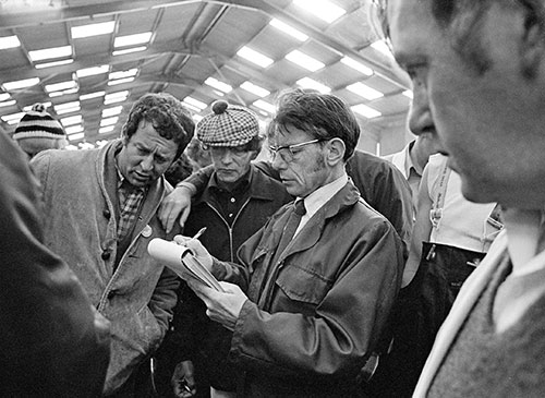 Fish auction, North Shields Tyneside  (1979)