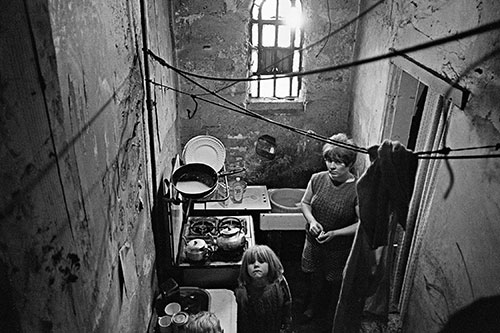Kitchen of a Birmingham slum property,  (1971)