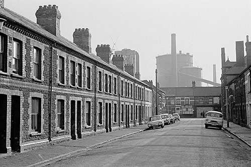 Terrace of houses by East Moors Steelworks Cardiff  (1972)