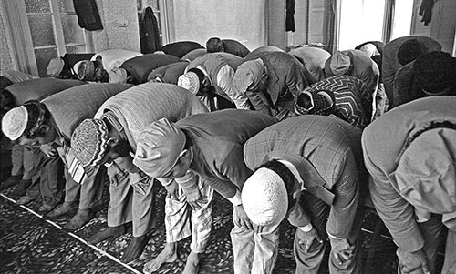 Prayer at the mosque  Wolverhampton  (1976)
