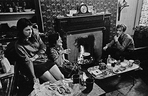 Cooking on an open fire, gas and electrics cut off, Liverpool  (1971)