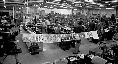 Birthday cards strung across the factory floor, Josiah Parkes lock factory, Willenhall  (1976)