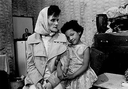 Mrs C and her daughter iving in a Liverpool slum,  (1969)
