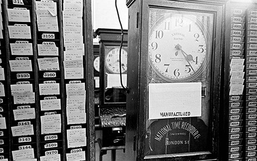 In the clocking in room, Josiah Parkes lock factory, Willenhall  (1976)