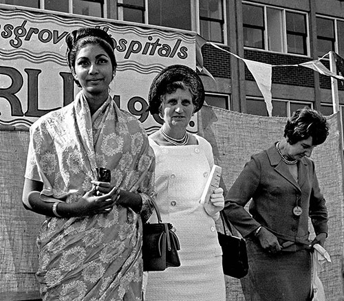 Miss World visits hospital fete, Bromsgrove  (1967)