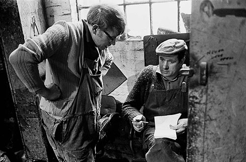 Two brothers discuss work in the mould workshop, Lee Howl pump factory Tipton  (1978)