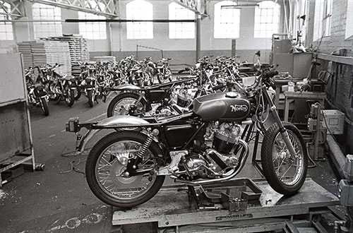 desolate storage area with unfinished motorcycles, Nortons Wolverhampton  (1976)