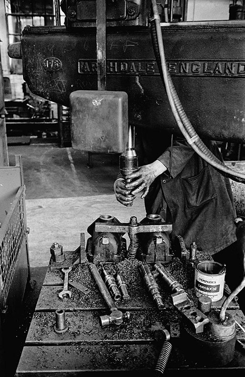 A fitter's hands, Lee Howl pump factory Tipton  (1978)